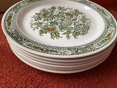 6 Vintage Ridgway Ironstone Canterbury Green Floral 10 Inch Collector Plate • 20£