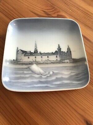 Vintage Bing & Grondahl Denmark Blue Square Dish Wall Plaque • 1.30£