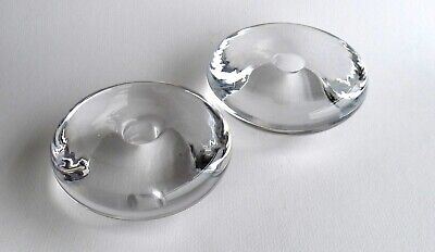 Vintage PAIR Of Heavy Signed ORREFORS Crystal DISCUS Candle Holders SWEDEN • 32£