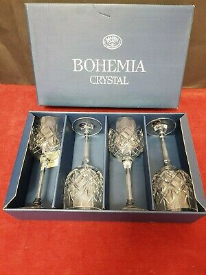 4 Bohemian Crystal Wine Glasses Boxed And Unused. Immaculate Condition • 21£