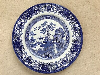Old Willow English Ironstone Pottery Dinner Plate Blue & White • 3.50£