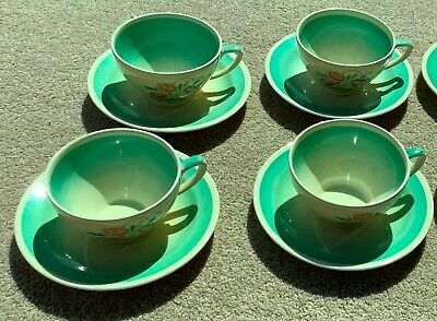 Four Teacups & Saucers By Susie Cooper In Green Dresden Spray, Kestrel Shape  • 113£