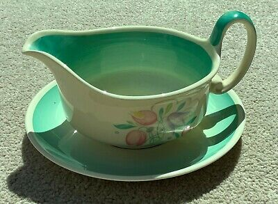 Susie Cooper Green Dresden Spray Sauce Jug And Stand Great Condition • 25£