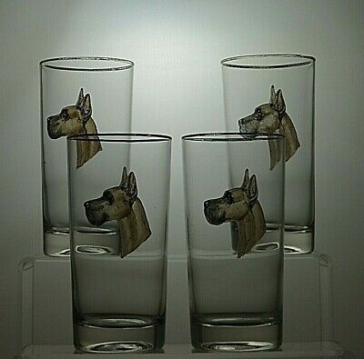 Glass Highball 13 Oz Tumblers Set Of 2 With Hand Painted Dog • 39.99£