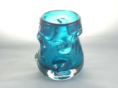 Whitefriars Kingfisher Blue Knobbly 9608 Vase By William Wilson And Harry Dyer • 30£