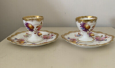 Two Antique Old Hall 1790 Floral Gilded Egg Cups And Saucers • 14£