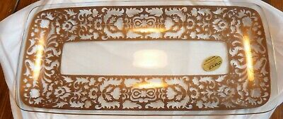 Vintage Chance Glass Regency Gold Serving Platter • 18£