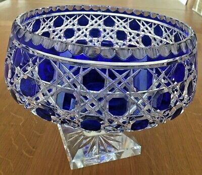 Large Vintage Blue Cut To Clear Pedestal Bowl Centrepiece - Vgc • 139.99£