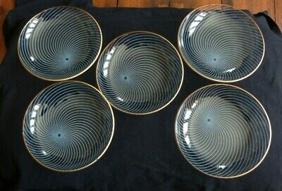 Six Vintage Chance Glass Atomic Swirl Side/cake Plates • 25£