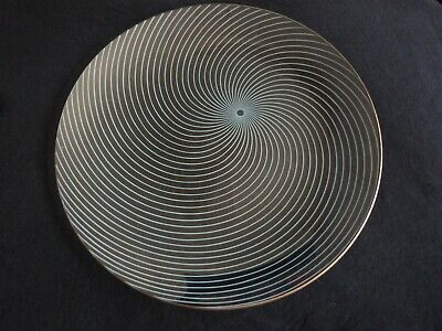 A Pair Of Vintage Chance Glass Atomic Swirl Large Plates • 16£