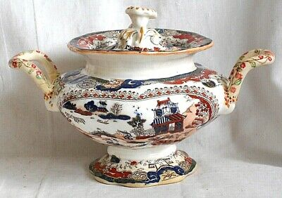 C19th Mason's Style Sauce Tureen And Cover In An Imari Pattern A/f • 10£