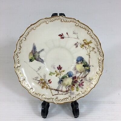 Antique Royal Worcester Saucer Hand Painted Bird Scene 1895 190547 Chipped • 29£