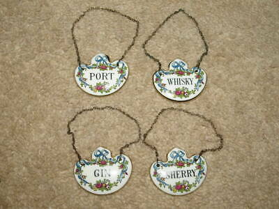 Crown Staffordshire Decanter China Labels Port, Sherry, Whisky, Gin. • 45£