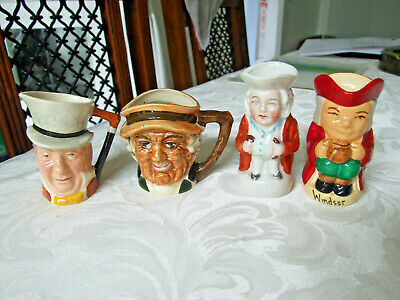 Collection Of 4 Vintage Miniature Toby Jugs • 9£