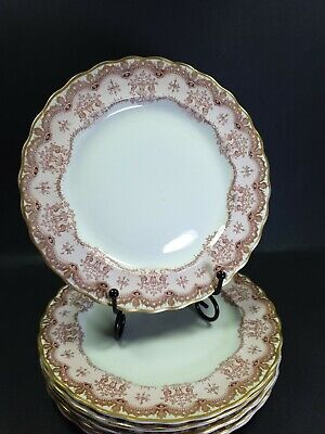 6x Antique Furnivals Pink Regal Side Salad Plates 7.5  • 50£