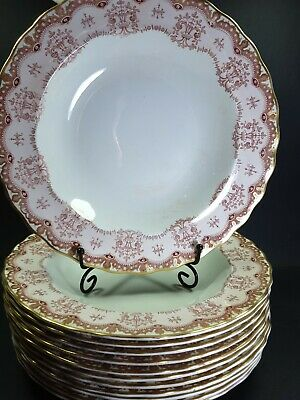 12x Antique Furnivals Regal Pink Soup Plates 10.5  • 140£