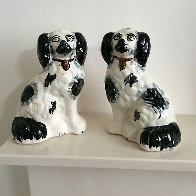 Antique Pair Of Staffordshire Flatback Mantle Piece Wally Dogs In Cream & Black • 39.95£