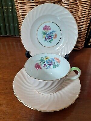 Vintage Deco Aynsley Trio China Cup Saucer Salmon Swirl Flowers • 15£