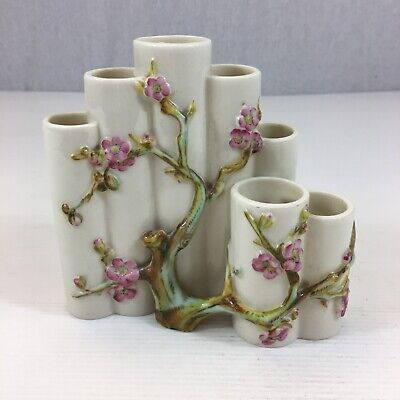 Vintage Royal Worcester Bamboo Type Floral Decorated Stepped Vase 13.5cm High  • 99£