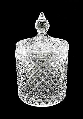 Crystal Effect Cut Glass Sweet Chocolate Candy Sugar Jar Bowl Dish With Lid • 7.99£