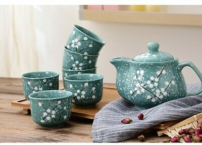 Japanese Chinese Teapot & 6 Teacups Set With Stainless Steel Infuser • 23.99£
