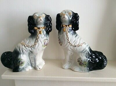 Vintage Pair Of Large KH Pottery Staffordshire Flatback Mantle Piece Wally Dogs  • 69.95£