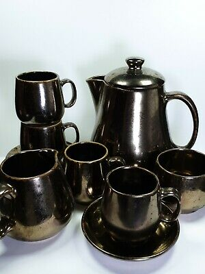 Prinknash Pottery Tea Set Teapot Cups Saucers Milk Jug Sugar Bowl • 35£
