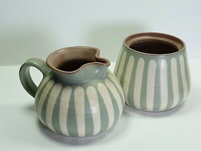 Prinknash Pottery Greenish Milk Jug & Sugar Bowl W/o Lid • 15£