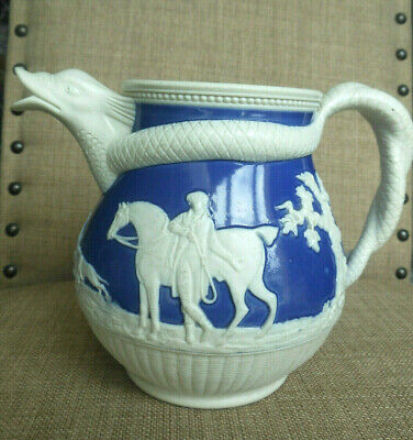 Early 19th Century Staffordshire Caneware Blue Chrysanthemum Jug - Dolphin Spout • 55£