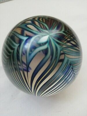Robert Held Art Glass Signed Iridescent Feather Swirl Paperweight • 20£