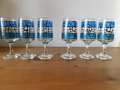 Vintage Set Of 6 Sherry /port Drinking Glasses On Stems Mid 20th Century • 16£
