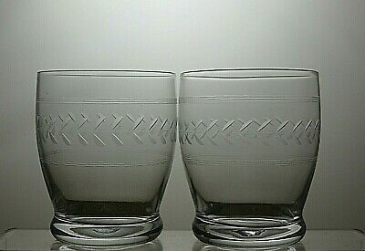 Vintage Lead Crystal Etched Barrel 12 Oz Tumblers Set Of 2 - 3 3/4  Tall • 24.99£