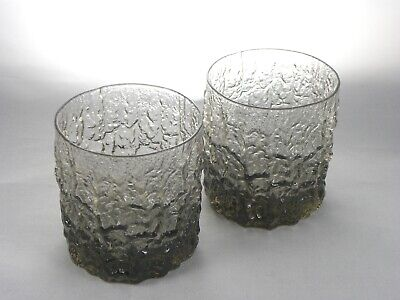 Pair Of Whitefriars Bark Design Geoffrey Baxter Whisky Tumblers Glasses 70s  • 30£
