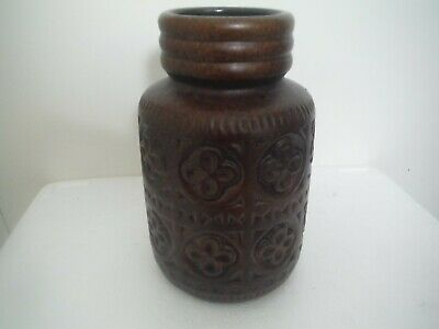 WEST GERMAN POTTERY 1970s Retro West German Germany Pottery Vase Small Brown • 6.99£