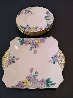 6 X Plant Tuscan Plates Plus Sandwich Plate Hand Painted • 12£