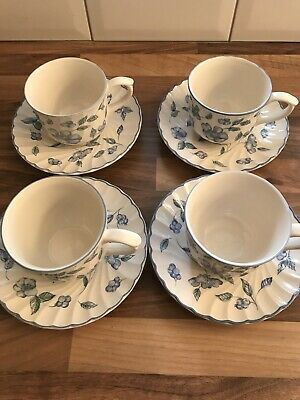 BHS Bristol Blue And White Floral Cups And Saucers Used Condition • 5£