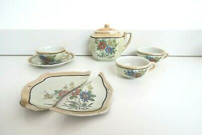 VINTAGE MINIATURE TEA SET SERVICE Red And Blue Floral Pattern Used Con Foreign • 5£