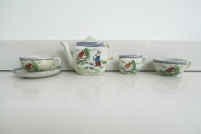 VINTAGE MINIATURE TEA SET SERVICE Rabbit And House Used Con Marked 'Foreign' • 5£
