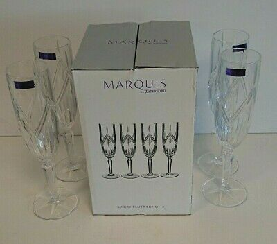 MARQUIS BY WATERFORD Lacey Flute Set Of Four Glasses BNIB. • 12.99£