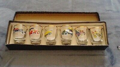 Collection Of 6 1960s Approx. Boxed Sherry/shots Vintage Car Glasses • 3£