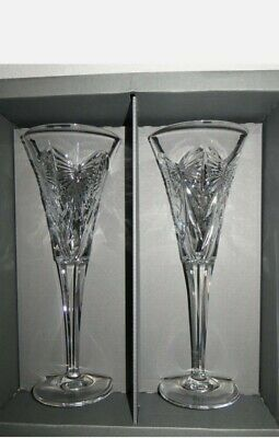 """Pair Of Waterford Crystal  HAPPINESS"""" Toasting Flutes..The Millennium Collection • 60£"""