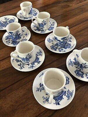 Vintage Crown Devon Blue And White Coffee Cups And Saucers • 8£