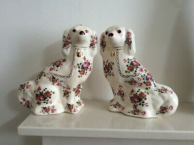 Vintage Pair Of Staffordshire Flatback Mantle Piece Wally Dogs In White & Floral • 39.95£