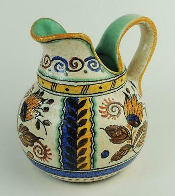 VINTAGE GOUDA ZUID HOLLAND POTTERY HAND PAINTED JUG C1950 • 45£