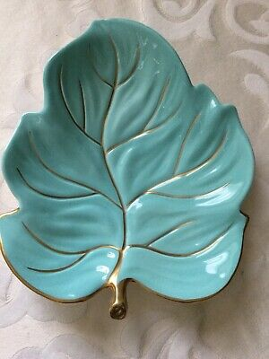Carlton Ware Turquoise & Gold Leaf Plate • 10£