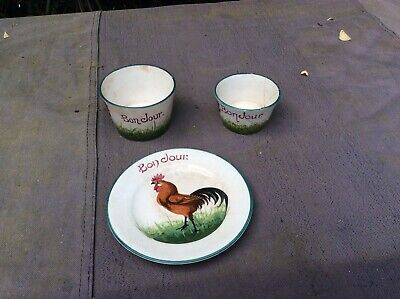 Two Old Cups & One Plate Bonjour • 10£