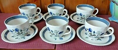 Alfred Meakin Blue Clover 6 X Cups And Saucers • 6.99£