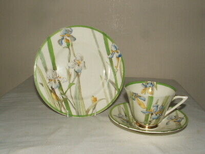 Royal Doulton  Art Deco Blue Iris Conical Shaped Tea Trio Truly  Stunning • 29.99£