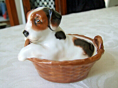 Royal Doulton China Terrier Puppy In A Basket HN2587 • 12.99£