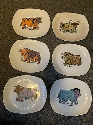 Set 6 BEEFEATER Steak & Grill Plates English Ironstone Pottery Ltd Retro Design • 100£